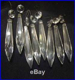 110pc vintage hanging French U-drop Crystal Glass Prisms Lamp wall sconce Parts