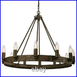 12 Light Ceiling Pendant Distressed/Aged Metal Candle RingHanging Feature Lamp