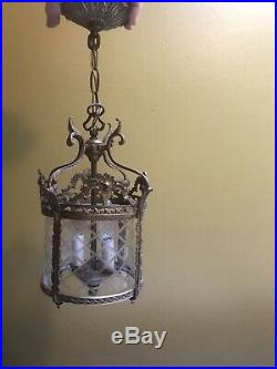 12 in Vintage Lg Brass & Glass French Hanging Hall Lantern Ceiling Light or Lamp
