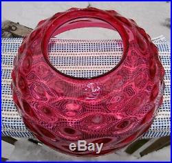 14 Cranberry Bullseye Glass Hanging Oil Kerosene Lamp Shade Hobnail Vtg Antique