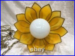 14 Retro Vintage Tulip Flower Petal Hanging Swag Lamp Faux Stained Glass Yellow