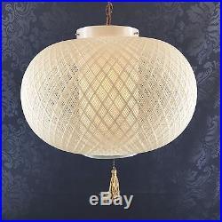 16 Spun Fibreglass Mid Century Modern Hanging Swag Lamp Vintage Ivory Light