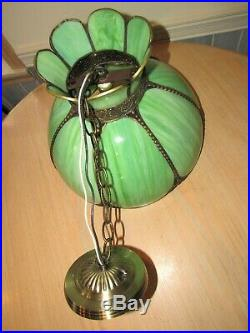 16 Vtg GREEN STAINED SLAG GLASS HANGING Lamp Tiffany Style Light Chandelier