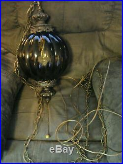 1960's Loevsky SMOKEY GLASS RIBBED GLOBE SWAG HANGING LAMP Vtg L & L WMC with plug