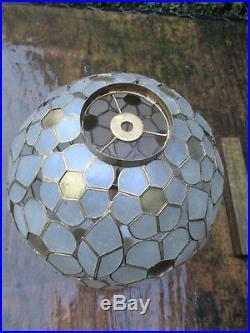 1960's Vintage Capiz Shell Brass Sphere Flower Shade Hanging Pendant Light Lamp