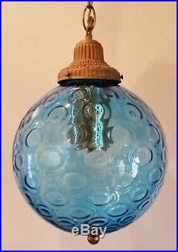 1960s Vintage Mid Century Blue Glass/Brass Swag Chandelier Gothic Hanging Lamp