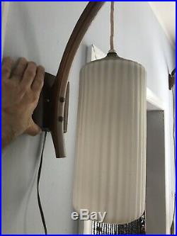 1960s Vintage Mid-Century DANISH MODERN Frosted Glass Hanging PENDANT WALL LAMP