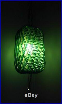1970's Vintage-Retro Blue-Green Acrylic Lucite Spaghetti Swag Light Hanging Lamp