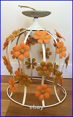 1970s Retro Yellow Orange Daisy Flower Metal Hanging Lamp Vintage