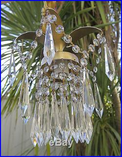 1 Pineapple lamp Hanging Swag Brass Chandelier crystal prism garland vintage