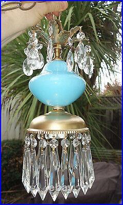 1 SWAG plugin Vintage Aqua Blue glass Brass tole hanging lamp Brass chandelier
