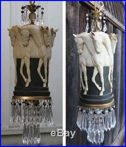 1 Stallion Horse chandelier hanging Swag Lamp Vintage EQUESTRIAN beads Crystal