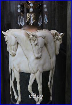 1 Stallion Horse chandelier hanging Swag Lamp Vintage EQUESTRIAN beads Crystal