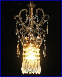 1 Vintage Ceiling lamp beaded ROCOCO chandelier Brass spelter hanging Opaline