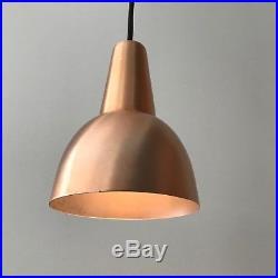 1 Vintage Mid Century Danish Modern Copper Hanging Pendant Cone Lamp Light