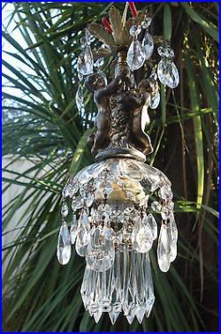 1 Vintage gilt cherub Spelter French Swag Plugin lamp hanging Nouveau glass