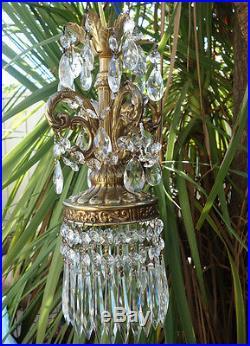 1 of 4 Vintage ROCOCO hanging Spelter brass plt Lamp Crystal pendant Chandelier
