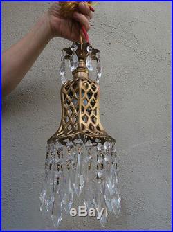 1o2 Gothic filigree metal lamp Vintage chandelier brass tole hanging light prism