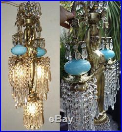1o2 Vintage Spelter brass hanging lamp Lady Chandelier Aqua glass Victorian Insp