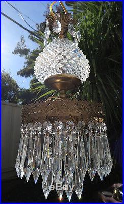 1o3 Vintage hanging Swag brass tole Fenton opalescent Hobnail Glass Crystal Lamp