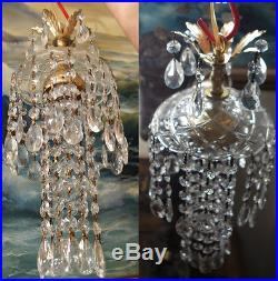 1o4 SWAG small hanging Jelly Fish in vintage Lamp Chandelier brass crystal glass