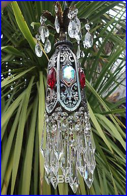 1o5 Ruby AB SWAG jeweled filigree hanging lamp Vintage chandelier Hollywood old