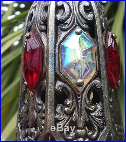 1o5 Ruby AB SWAG jeweled filigree hanging lamp Vintage chandelier Hollywood old