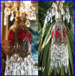 1o5 Ruby SWAG jeweled Tulip filigree hanging Crystal lamp Vintage chandelier