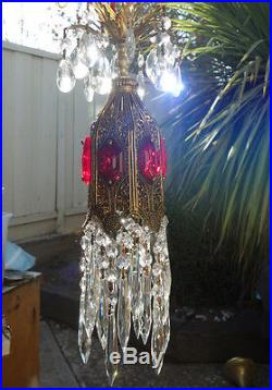 1o5 Ruby SWAG jeweled Tulip filigree hanging Crystal lamp Vintage chandelier