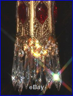 1o5 Ruby SWAG jeweled Tulip lily filigree hanging Crystal lamp Vintage chandelie