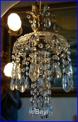 1o5 SWAG 15ft cord hanging Jelly Fish insp vintage Lamp Chandelier brass crystal