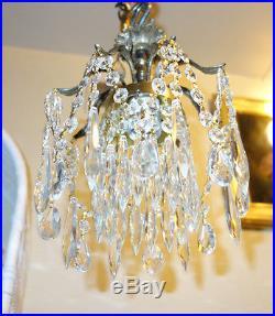 1of2 SPIDER SWAG Lamp hanging Brass Spelter crystal chandelier Vintage Hollywood