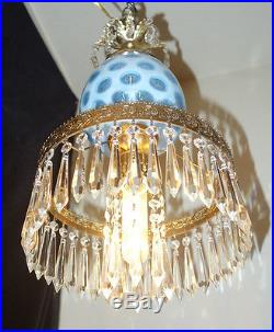 1of2 Vintage Fenton Sky Bue opalescent Brass Glass hanging Lamp Chandelier coin