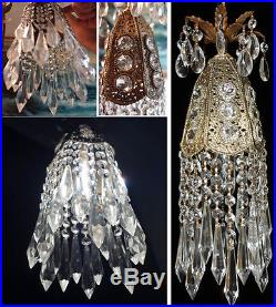 1of3 Jeweled filigree Hollywood Regency hanging SWAG lamp chandelier Vintage
