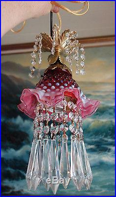 1of3 Vintage Fenton cranberry Jelly Fish ins Glass hanging brass Lamp w canopy