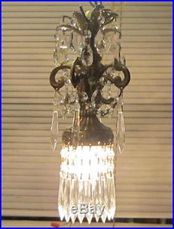 1of3 Vintage Hanging pendant ROCOCO Brass plated lamp Chandelier crystal prism
