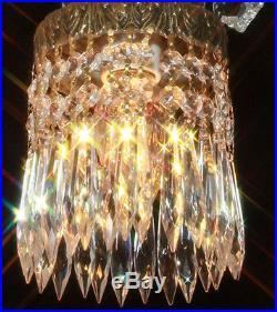 1of4 Vintage brass plated Swag plugin crown leaf hanging Lamp Crystal chandelier