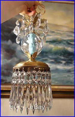 1of4 Vintage lantern crystal globe Icy Blue Brass hanging lamp chandelier prisms