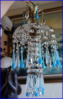 1of5 Opaline Aqua Blue SWAG hanging Jelly Fish insp vintage Lamp brass crystal