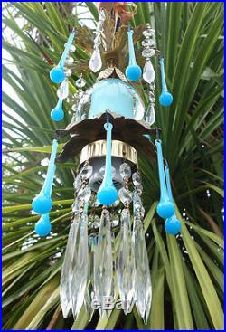 1of5 Opaline prism Vintage Icy Blue Turquoise tole Brass hanging lamp chandelier