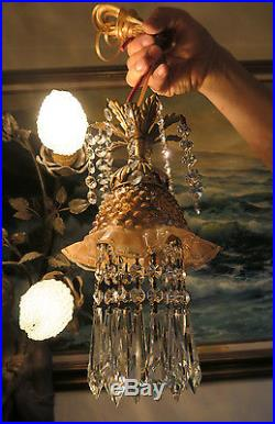 1of5 Vintage Fenton Peach Jelly Fish Glass SWAG plugin hanging brass TOLE Lamp