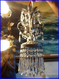 1of5 Vintage ROCOCO Silver pewter tone Spelter Lamp Crystal Chandelier hanging