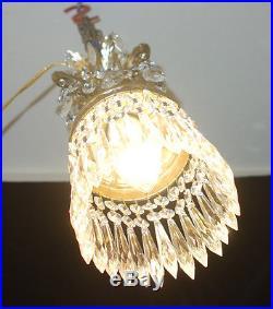 1of5 Vintage ROCOCO hanging Spelter brass plt Lamp Crystal petit Chandelier