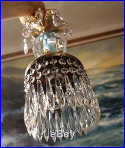 1of5 Vintage Swag crystal cut Blue Crystal Brass hanging lamp chandelier prisms