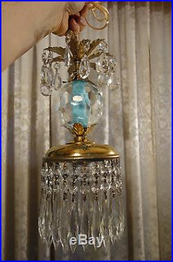 1of5 Vintage Swag crystal globe Icy Blue Brass hanging lamp chandelier prisms