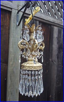 1of5 Vintage baroque ornate hanging Spelter brass plt Lamp Crystal Chandelier