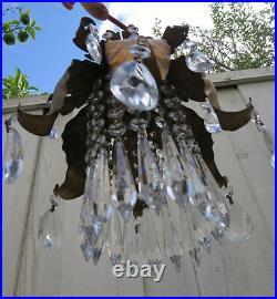 1of5 Vintage gilt Tole leaf Brass Italy Lily Florentine SWAG lamp chandelier