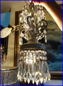 1of6 Vintage ROCOCO Shabby Spelter Chic SWAG Lamp Crystal Chandelier hanging