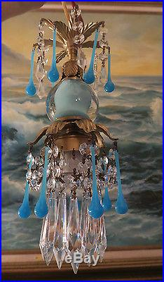 1of7 Opaline prism Vintage Turquoise spelter tole Brass hanging lamp chandelier