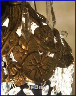 1of7 SWAG Lamp hanging Spelter Pond Lily crystal chandelier Vintage Hollywood